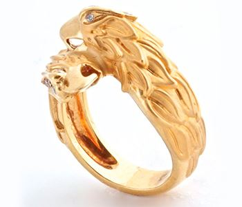 Золотое кольцо в виде двух голов орлов с бриллиантами Carrera y Carrera  660601 25b02a4f39e