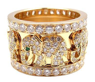 be2a1490747e Кольцо со слонами из желтого золота с изумрудами и бриллиантами Cartier  748040