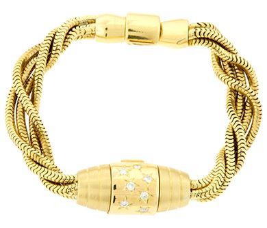 Ювелирные украшения Cartier   каталог часть 2. Женский золотой браслет со  скрытыми часами с бриллиантами Cartier 95612 693e11bbfd9
