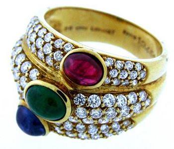 Золотое кольцо с бриллиантами, рубином, изумрудом и сапфиром Chaumet 134683 54225453de0