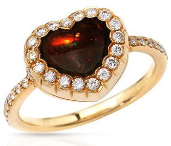 Обручальное кольцо в форме сердца с гранатом и бриллиантами Dior JSSN95026 d4f007900b5
