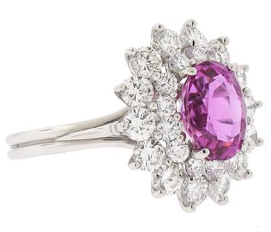 Платиновое кольцо с розовым сапфиром и бриллиантами Tiffany and Co. 51935471 bfb3dec00ab