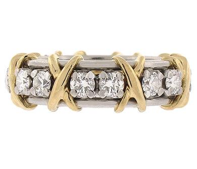 Обручальное кольцо из платины и жёлтого золота с бриллиантами Tiffany and  Co. 505293 9b7b92d7a17
